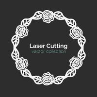 Gabarit de découpe laser. Carte ronde avec des roses. vecteur