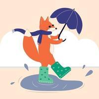 carte postale vectorielle de marche renard automne avec parapluie en bottes. vecteur