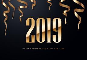 2019 illustration de voeux de vacances vecteur avec chiffres dorés.