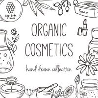 Fond avec des bouteilles cosmétiques. Illustration de cosmétiques bio.