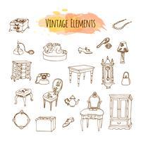 Éléments vintage dessinés à la main. Illustration de meubles antiques vecteur