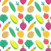 Modèle sans couture avec des légumes. Illustration vectorielle de légumes plats. vecteur