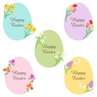 joyeux oeufs de pâques avec des fleurs vecteur