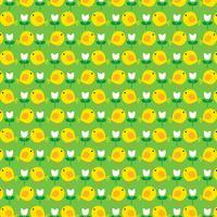 Modèle de poussin de Pâques avec des tulipes sur fond vert vecteur