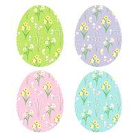 motifs floraux sur oeufs de Pâques