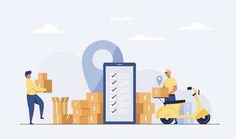 livraison en ligne achats numériques rapides et transport de courrier urbain. vecteur