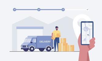 client utilisant une application mobile pour suivre la livraison des commandes. vecteur