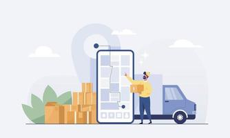 le personnel livre des marchandises en voiture aux clients sur l'application mobile. vecteur