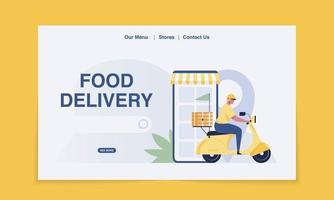 page de destination de livraison. livraison de nourriture en scooter. illustration vectorielle vecteur