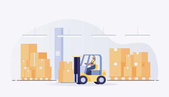 ouvrier d'entrepôt avec chariot élévateur. illustration vectorielle vecteur