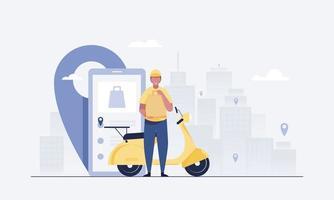 les coursiers livrent les commandes et les scooters. application mobile de suivi des commandes. vecteur