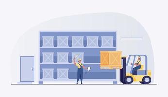 ouvrier d'entrepôt avec chariot élévateur.. illustration vectorielle vecteur