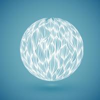 Globe dessiné main abstraite blanche, illustration vectorielle