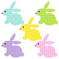 Lapins de Pâques avec motif de lapin vecteur