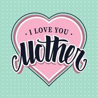 Je t'aime mère rétro vector lettrage