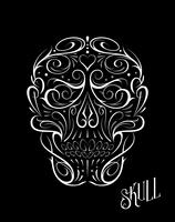 Motif blanc abstrait en forme de crâne vecteur