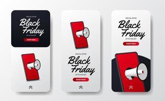 modèle d'histoires de médias sociaux d'offre de vente du vendredi noir vecteur