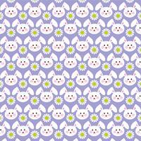 Motif de visages de lapin de Pâques sur violet vecteur