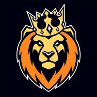 Lion, mascotte vecteur couronne