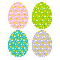 Oeufs de Pâques avec motifs de poussins à couver vecteur