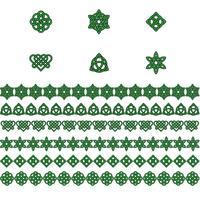 Saint Patrick jour des noeuds celtiques frontières et icônes vecteur