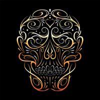 Motif abstrait en forme de crâne doré vecteur