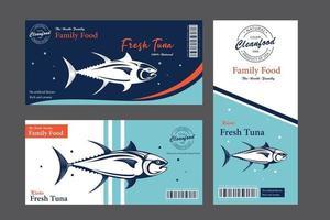 étiquettes de truite vectorielles et concepts de conception d'emballages. poisson truite arc-en-ciel vecteur