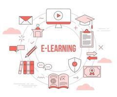 Tutoriel vidéo sur le concept d'apprentissage en ligne vecteur