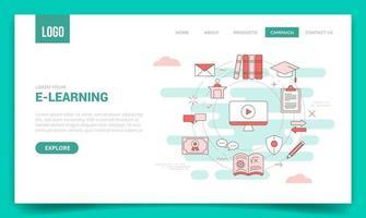 vidéo conceptuelle d'apprentissage en ligne vecteur