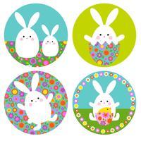 Graphiques de lapin de Pâques avec des motifs floraux sur des formes de cercle