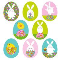 Graphiques de lapin de Pâques et bébé poussin sur des formes d'oeufs de Pâques vecteur