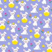 Motif de lapin et poussin de Pâques sur fond violet vecteur