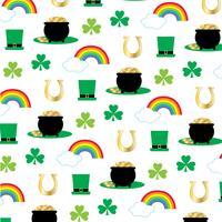 Pot de jour Saint Patricks avec motif arc-en-or vecteur