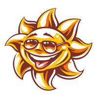 Dessin animé joyeux soleil vectoriel
