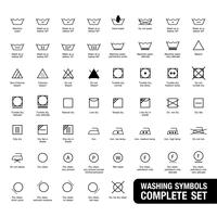 Ensemble complet de symboles de lessive. vecteur