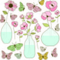 papillons et vases de fleurs dessinés à la main vecteur