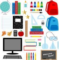 retour aux fournitures scolaires clipart