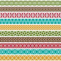 motifs colorés de frontière marocaine vecteur