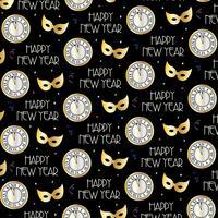 modèle de vecteur de veille du nouvel an avec des horloges et des masques d'or