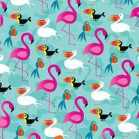 motif de fond oiseaux tropicaux vecteur