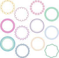 cadres de cercle cousus colorés vecteur