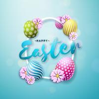Illustration de joyeuses fêtes de Pâques vecteur