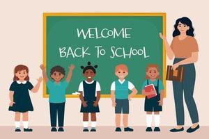 enseignant et écoliers en uniforme au tableau noir.retour à l'école vecteur