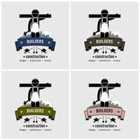 Création de logo de travailleur de la construction. vecteur