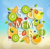 Fond d'été avec des fruits et des baies. vecteur
