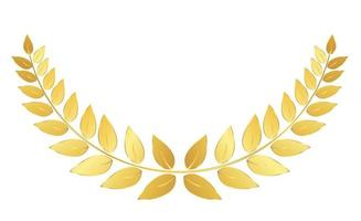 couronne de laurier doré isolé sur fond blanc. vecteur