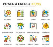 Simple Set Power Industry et Energy Line Icons pour sites Web et applications mobiles vecteur