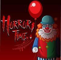 affiche avec un clown effrayant tenant un ballon vecteur