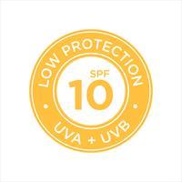 Protection UV, protection solaire, faible SPF 10 vecteur