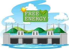 les centrales hydroélectriques produisent de l'électricité avec une bannière d'énergie gratuite vecteur